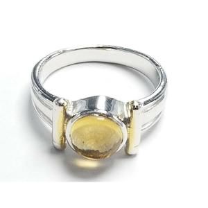 Women's Sterling Silver 925 Ring with Yellow Stone